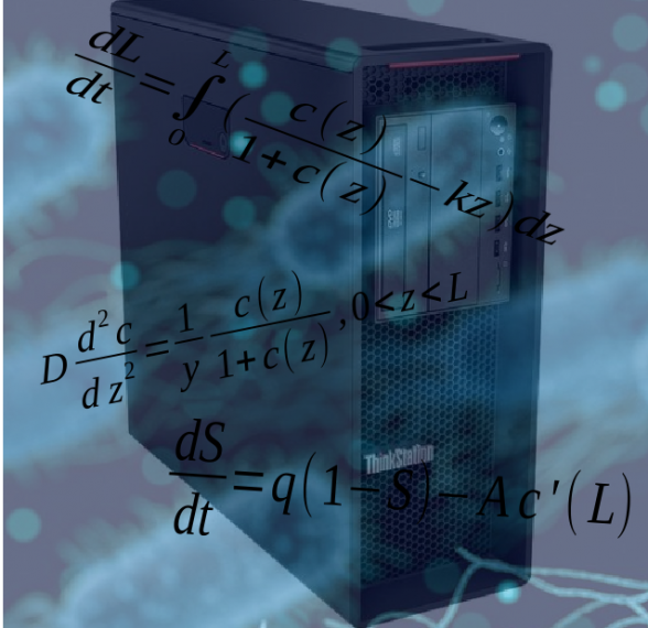computer image overlaid with equations